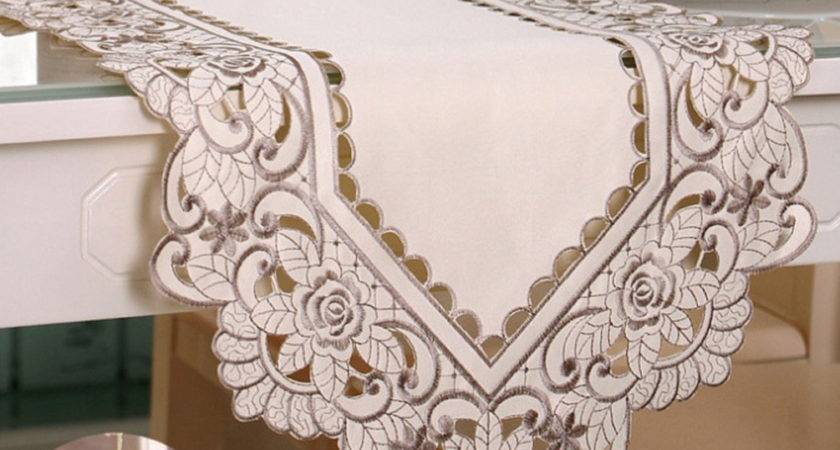 Embroidered Flower Cutwork Lace Table Runner Floral Tabel