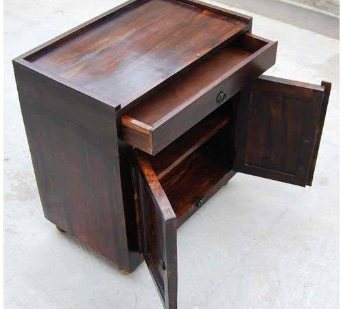 Espresso Wood Storage Drawer Kitchen Cabinet Side Table