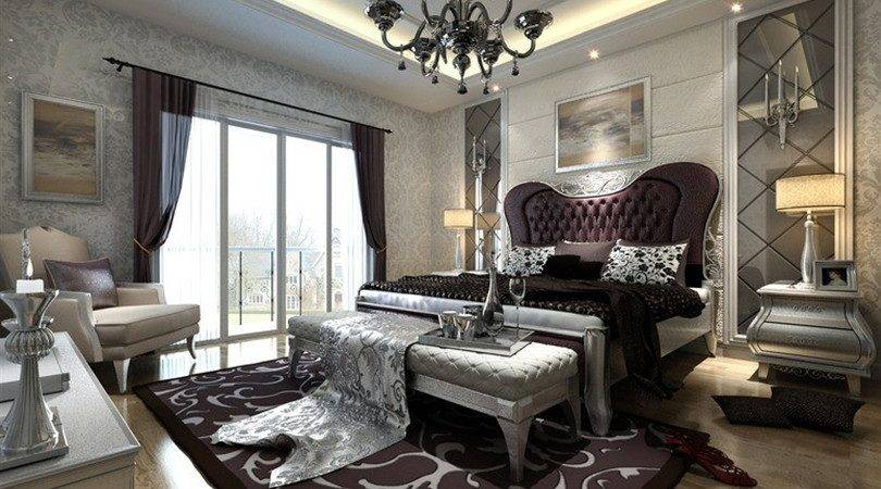 European Style Silver Bedroom Interior Design