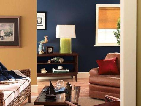 Excellent Two Colors Paint Ideas Brown Leather Couch