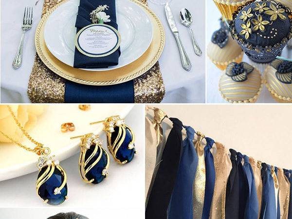 Expectied Chic Beaded Gold Navy Blue Red Sweetheart Ball
