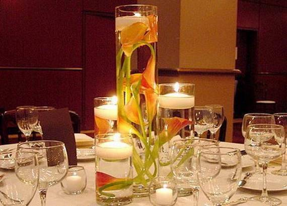 Floating Flowers Candles Centerpieces Holiday
