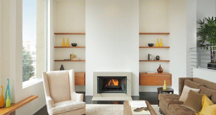 Floating Shelves Next Fireplace Room