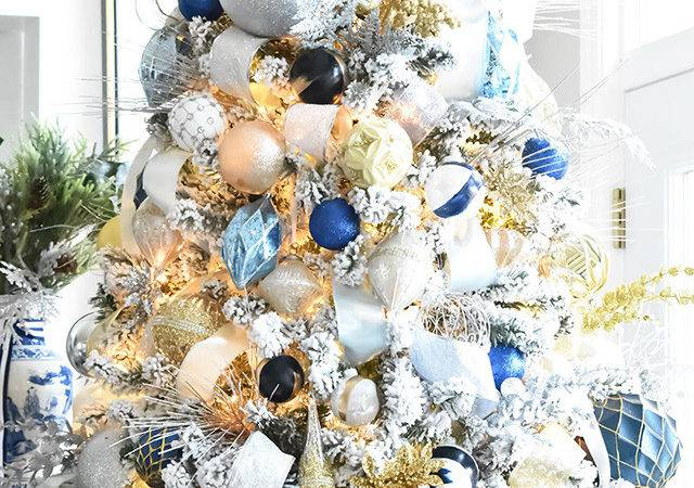 Flocked Christmas Tree Navy Light Blue Silver