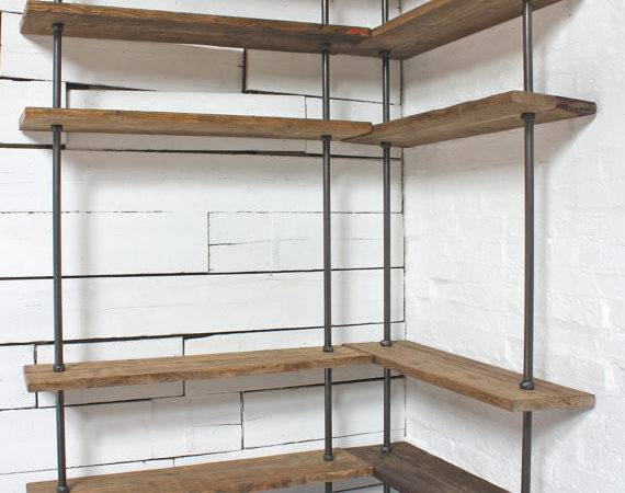 Floor Wall Mounted Mitred Corner Shelving Unit