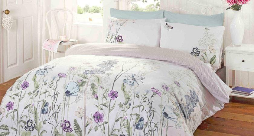 Floral Duvet Cover Reversible Stripe Bedding White Duck