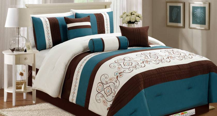 Floral Scroll Damask Embroidery Piping Comforter Set