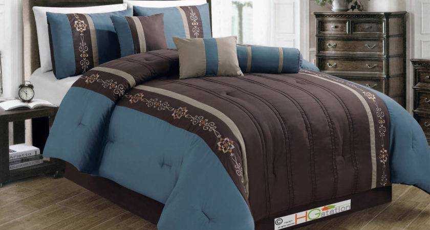 Floral Scroll Embroidery Pintuck Comforter Set Teal