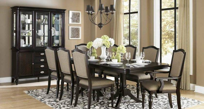 Formal Dining Room Dark Brown Varnished Wooden
