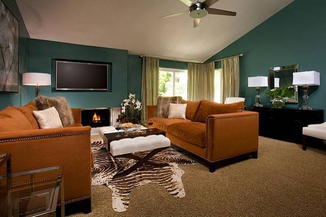 Fountain Valley Living Room After Teal Brown