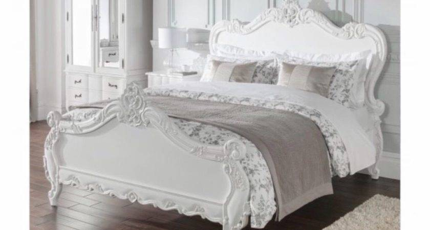 French Antique Style Carved Wood Shabby Chic Bed