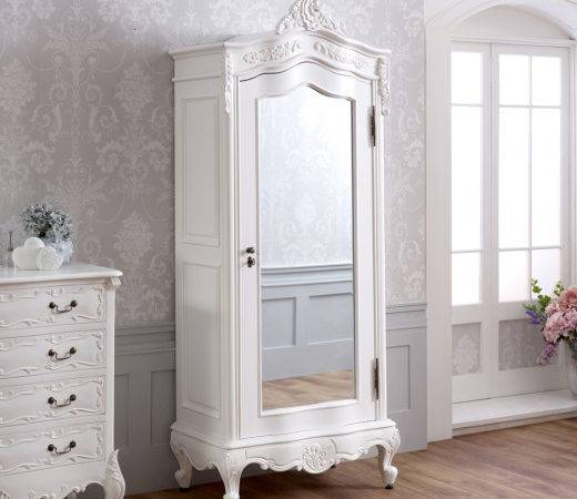 French Chateau White Painted Small Door Mirrored Armoire