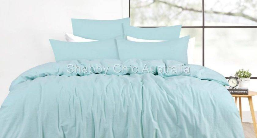 French Provincial Blue Linen Queen Bed Doona Duvet Quilt
