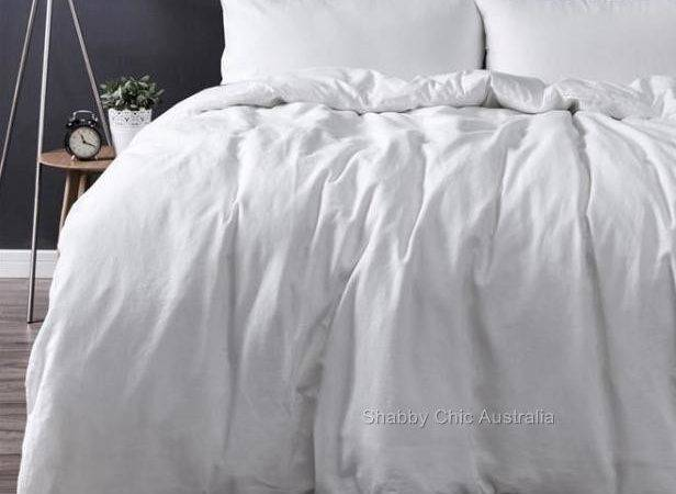 French Provincial White Linen King Bed Doona Duvet Quilt