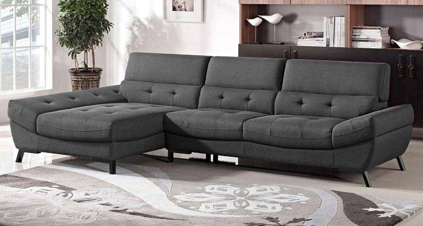 Furniture Modern Leather Grey Sectional Sofa