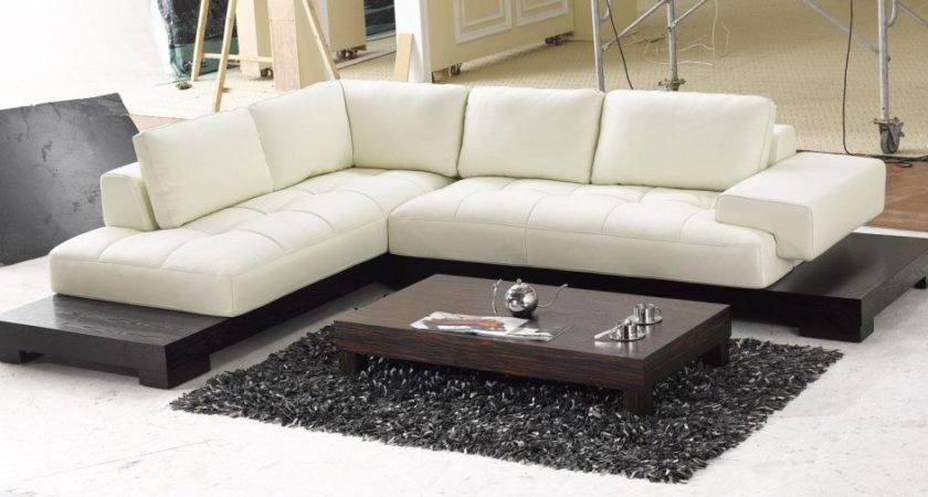 Furniture Sectional Modern Leather Sofa Beige Color