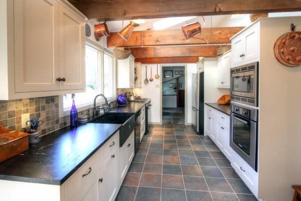 Galley White Country Kitchen Traditional