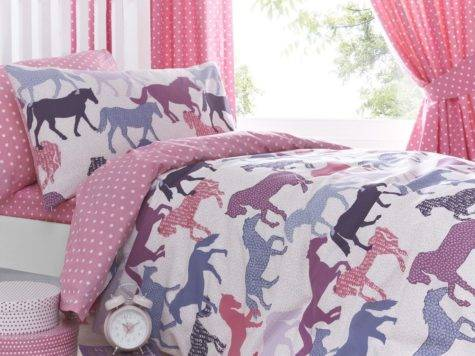 Gallop Pink Girls Horse Bedding Duvet Cover Set Sheet