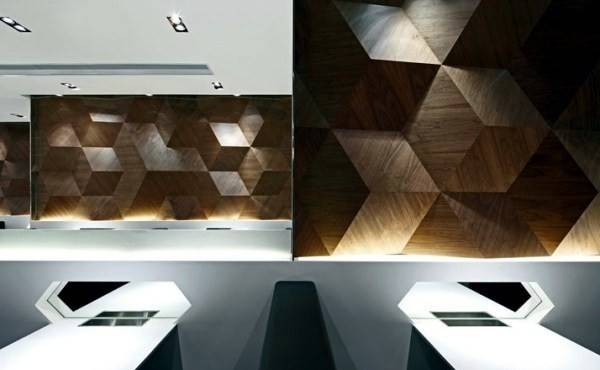 Geometric Shapes Embossing Modern Restaurant Design