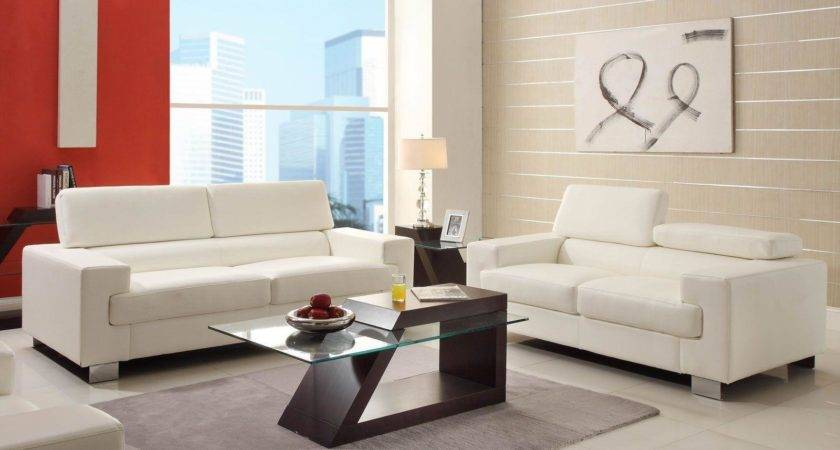 Gerald Modern Living Room Furniture Set White Bonded