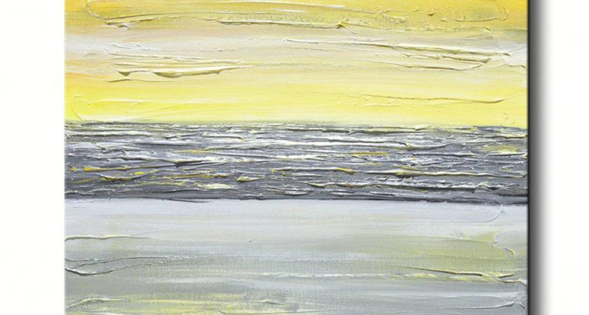 Giclee Print Art Abstract Yellow Grey Painting Vertical