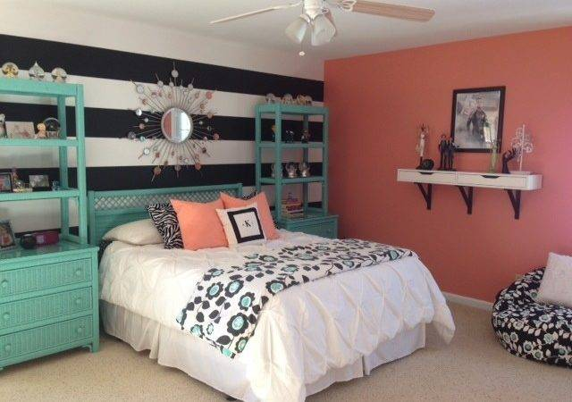 Girl Teal Coral Bedroom