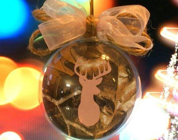 Glass Floating Christmas Tree Ornament Camo Buck Hunting