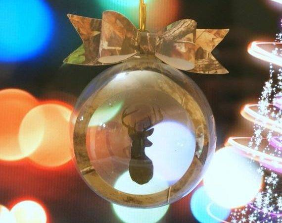 Glass Floating Christmas Tree Ornament Camo Buck