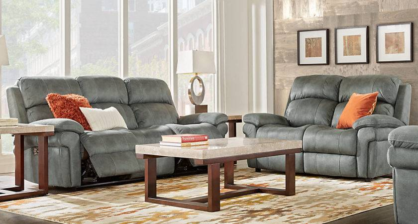 Glendale Charcoal Living Room Sets Gray