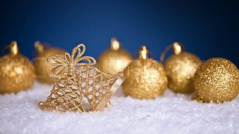 Gold Christmas Tree Decorations Snow Blue