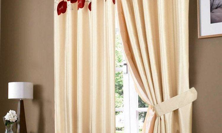 Golden Cream Red Poppy Ring Top Eyelet Curtain Curtains