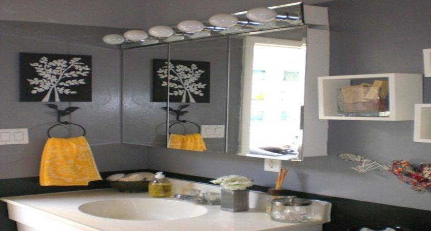 Gray Bathroom Decor Black Grey Yellow