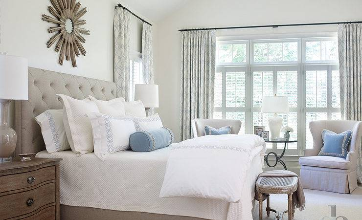 Gray Bedroom Blue Accents Transitional