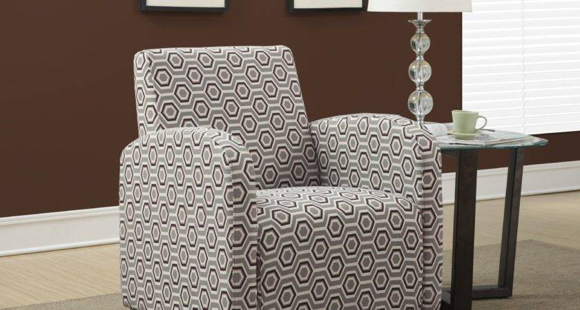Gray Earth Tone Hexagon Fabric Accent Chair Monarch