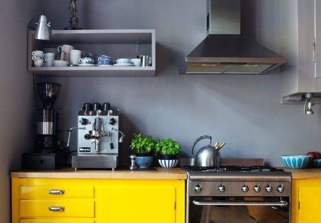 Gray Kitchen Walls Yellow Cupboards Home Decorating