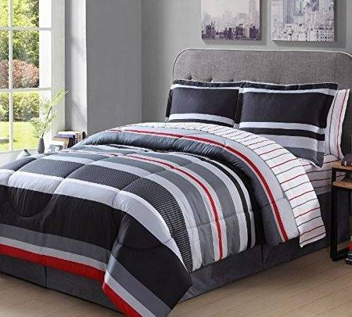 Gray Red Comforter Sets Piece Boys Rugby
