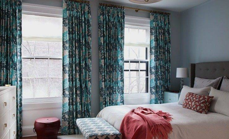 Gray Teal Bedroom Coral Curtains