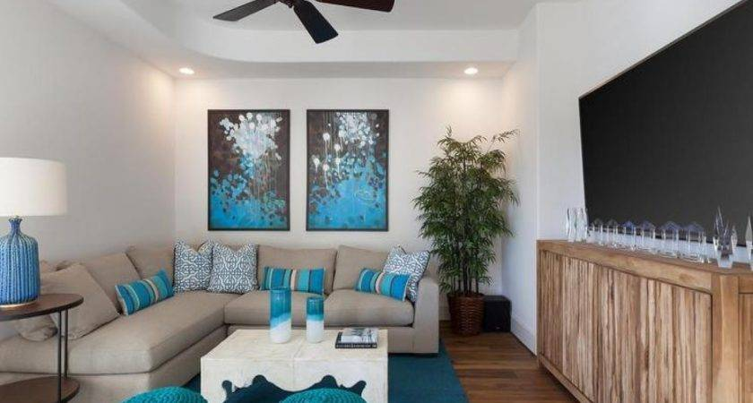 Gray Turquoise Blue Living Rooms Transitional Room
