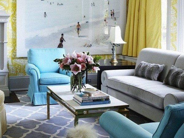 Gray Turquoise Living Room Decorating Ideas