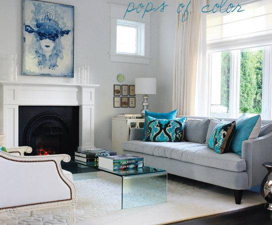 Gray Turquoise Living Room