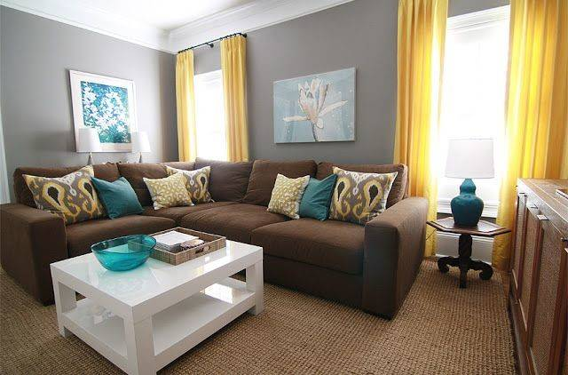 Gray Walls Brown Couch Teal Accents Not Sure