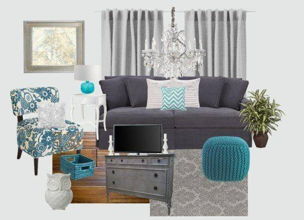 Gray White Turquoise Living Room House Ideas