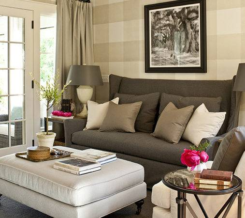Gray Wingback Sofa Cottage Living Room Southern
