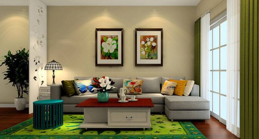 Green Curtains Rug Living Room
