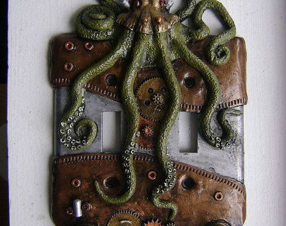 Green Steampunk Octopus Double Light Switch Wainmanstudios