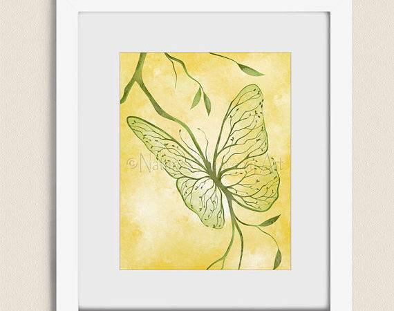 Green Yellow Wall Decor Home Butterfly