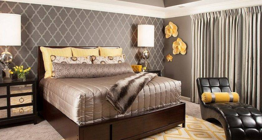 Grey Brown Yellow Bedroom