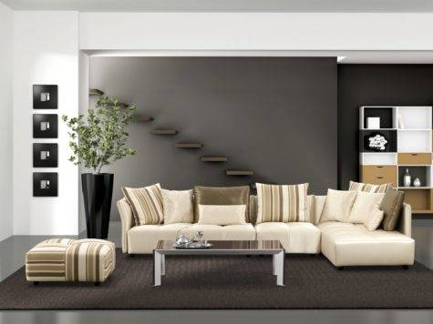 Grey Ceramic Flooring Brown Together Living Roomcream