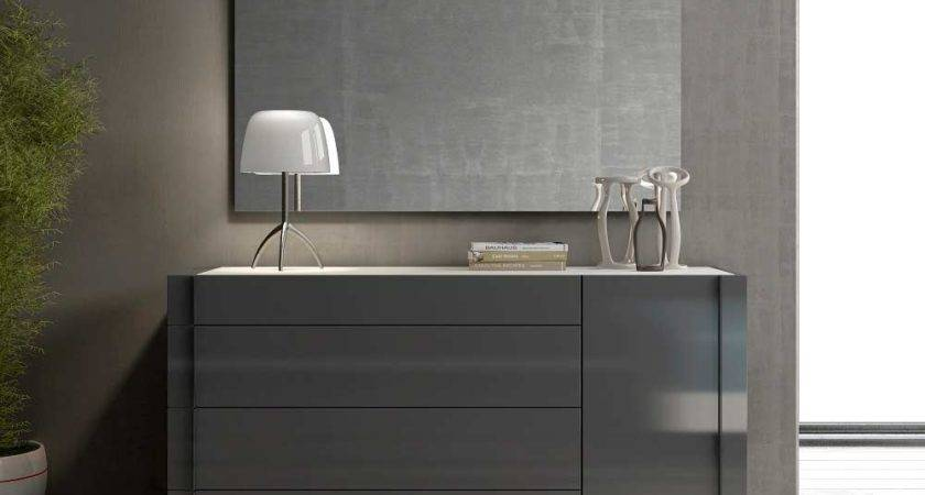Grey Lacquer Natural Wood Bed Barto Contemporary Bedroom