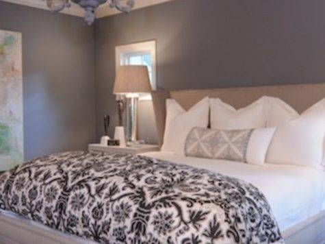 Grey Paint Walls White Bedding Clean Simple